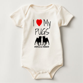 Custom I Love My Two Pugs Baby Bodysuit