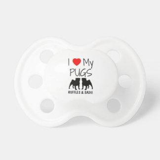 Custom I Love My Two Pugs Pacifiers
