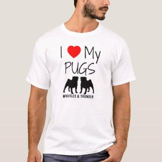 Custom I Love My Two Pugs T-Shirt
