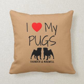 Custom I Love My Two Pugs Throw Pillow