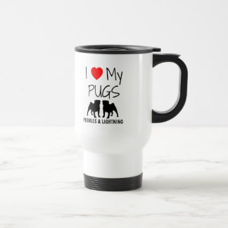 Custom I Love My Two Pugs Travel Mug