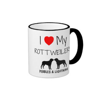 Custom I Love My Two Rottweilers Ringer Mug