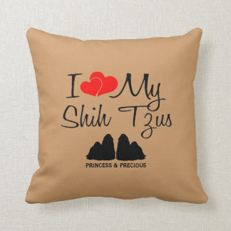 Custom I Love My Two Shih Tzus Throw Pillow