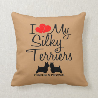 Custom I Love My Two Silky Terriers Throw Pillows