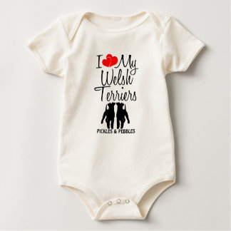 Custom I Love My Two Welsh Terriers Baby Bodysuits