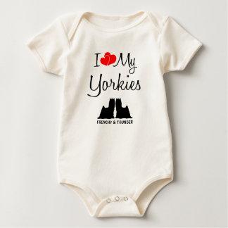 Custom I Love My Two Yorkies Baby Bodysuit