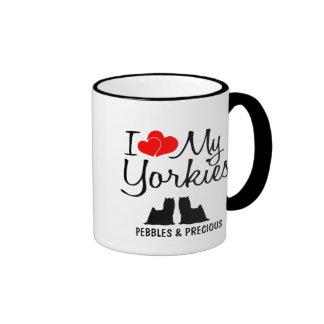Custom I Love My Two Yorkies Ringer Mug