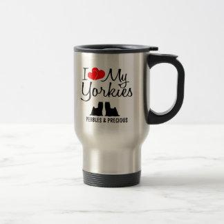 Custom I Love My Two Yorkies Travel Mug