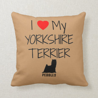 Custom I Love My Yorkshire Terrier Throw Pillow