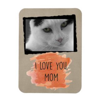 Custom I Love You Mom Cat Photo Magnet