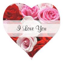 "Custom ""I Love You"" Roses Heart Sticker"