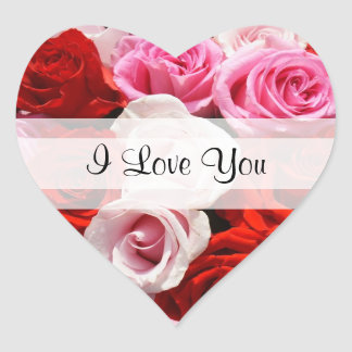 "Custom ""I Love You"" Roses Heart Sticker"