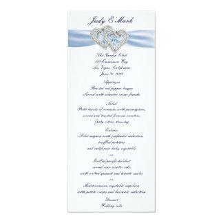 Custom Ice Blue Hearts Menu Card