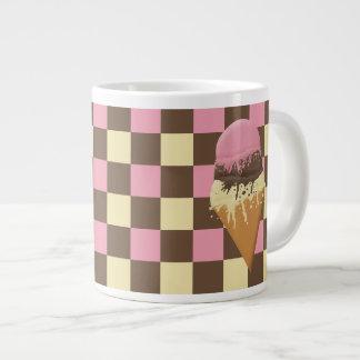 Custom Ice Cream Cone Checkered Pattern Jumbo Mugs