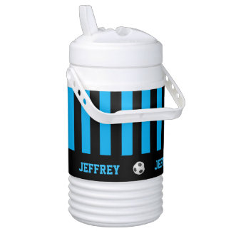 Custom Igloo Beverage Cooler, Soccer, Blue Stripes Beverage Cooler