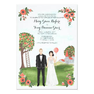 Custom Illustrated Couple Portrait Farm Wedding Card