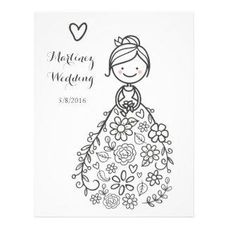 Custom Illustrated Wedding Bride Coloring Page