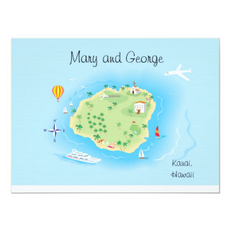 Custom Illustrated Wedding Map (ask first) 6.5x8.7 6.5x8.75 Paper Invitation Card