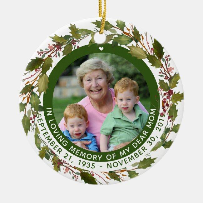 Custom In Loving Memory Mom Memorial Christmas Ceramic Ornament