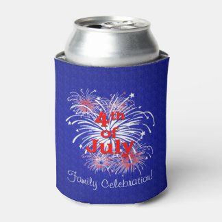 Custom Independence Day Fireworks Display Can Cooler