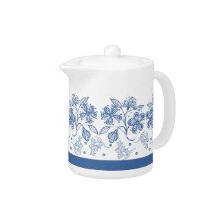 Custom Indigo Blue Floral Border China Teapot