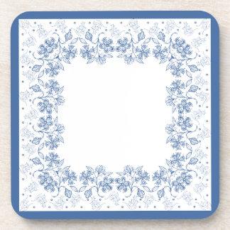 Custom Indigo Blue Floral Border Square Coasters