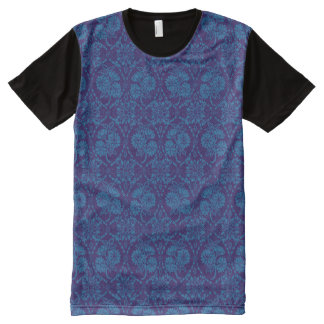 Custom Indigo Blue Floral Faux Lace Pattern All-Over Print Shirt