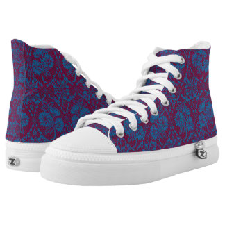 Custom Indigo Blue Floral Faux Lace Pattern High-Top Sneakers