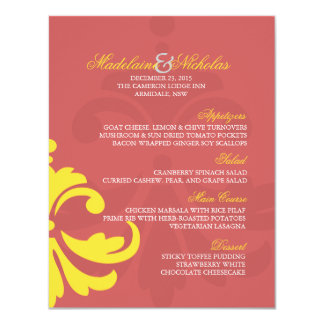 Custom indigo red and banana yellow damask wedding card