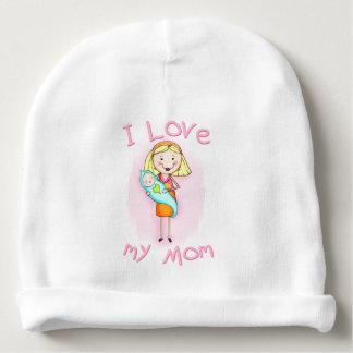 Custom Infant Girl I Love My Mom Baby Beanie