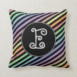 [ Thumbnail: Custom Initial; Black & Pastel Color Lines Pattern Throw Pillow ]