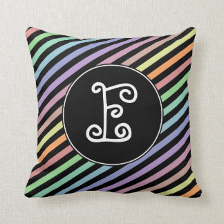 Custom Initial; Black & Pastel Color Lines Pattern Throw Pillow