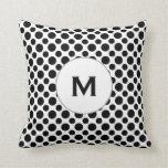 Custom Initial Black Polka Dots on White Pillow