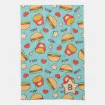 Custom Initial | Burger & Fries Pattern Kitchen Towel