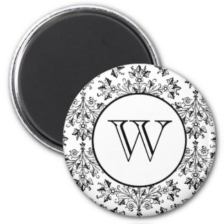 Custom Initial Daisy Damask Floral Art in Black 2 Inch Round Magnet