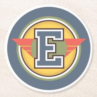 "Custom Initial ""E"" Monogram Round Paper Coaster"