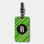 [ Thumbnail: Custom Initial + Green Lines/Stripes Pattern Luggage Tag ]