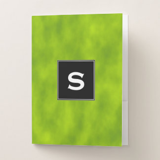Custom Initial + Green Mist/Haze/Fog-Like Pattern Pocket Folder