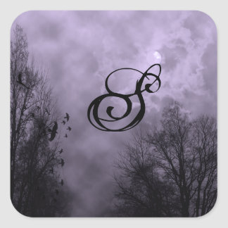 Custom Initial Haunted Sky Purple Mist Sticker