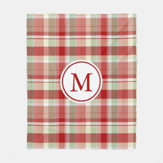 Custom Initial Holiday Plaid Print Fleece Blanket