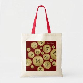 custom initial letter on golden balls pattern wine tote bag