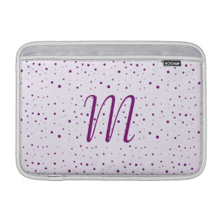 Custom Initial Lilac and Purple Spotty 11 Inch Sleeves For MacBook Air