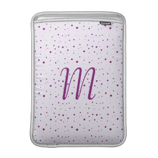 Custom Initial Lilac and Purple Spotty 13 Inch MacBook Air Sleeve