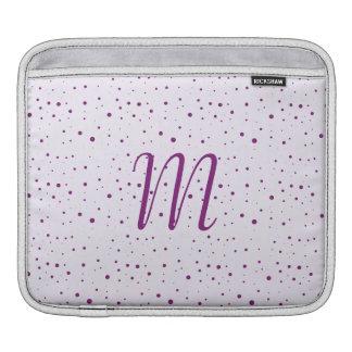 Custom Initial Lilac and Purple Spotty iPad Sleeves