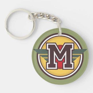Custom Initial M Monogram Single-Sided Round Acrylic Keychain