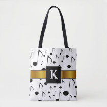 Custom Initial   Many Musical Notes Pattern Tote Bag