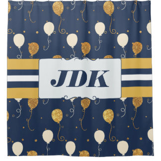 Custom Initial Monogram Gold Balloons Navy Shower Curtain