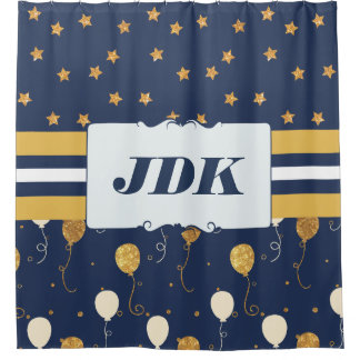 Custom Initial Monogram Gold Star Balloons Navy Shower Curtain