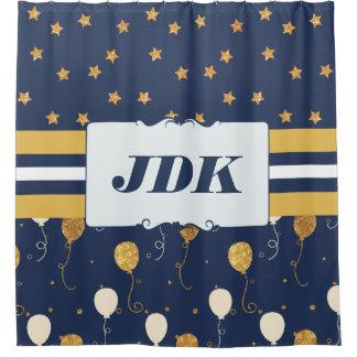 Custom Initial Monogram Gold Star Balloons Navy Shower Curtain