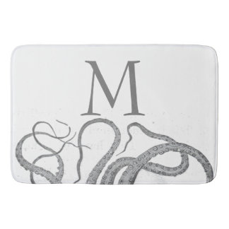 Custom initial monogram nautical octopus kraken bathroom mat